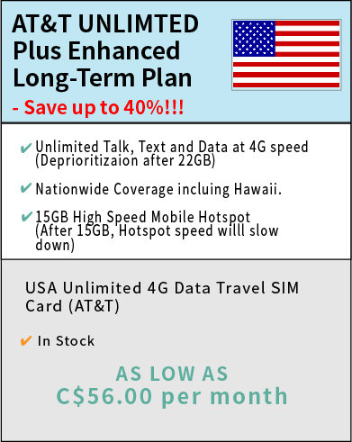 Long-Term AT&T Unlimited Plus Enhanced - price include a nano SIM card