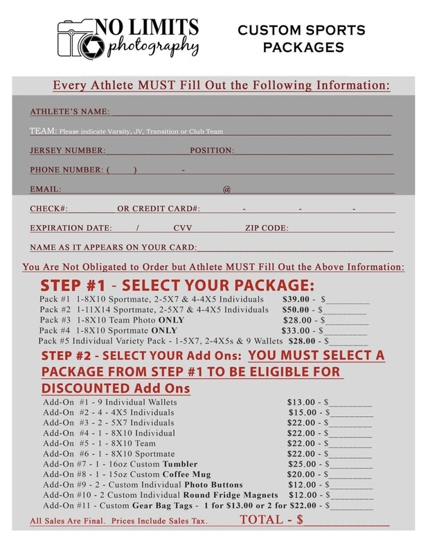 Custom Sports Photography Order Form - Manual Orders Only
