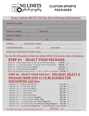 Custom Sports Photography Order Form