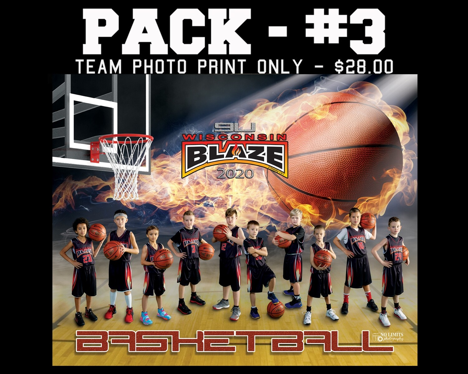 PACK #3 -  8X10 Team Photo Print Only
