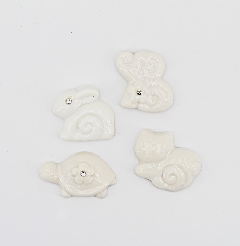 Bomboniera in porcellana applicazioni animaletti assortiti Pz. 12