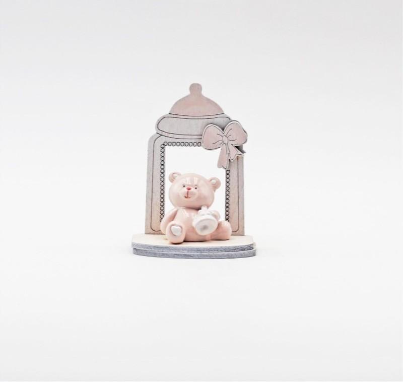 Bomboniera in resina biberon con orso rosa Pz.1
