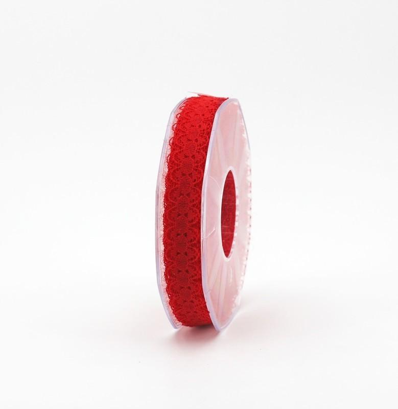 Furlanis nastro pizzo nylon rosso colore 31 mm.15 Mt. 25