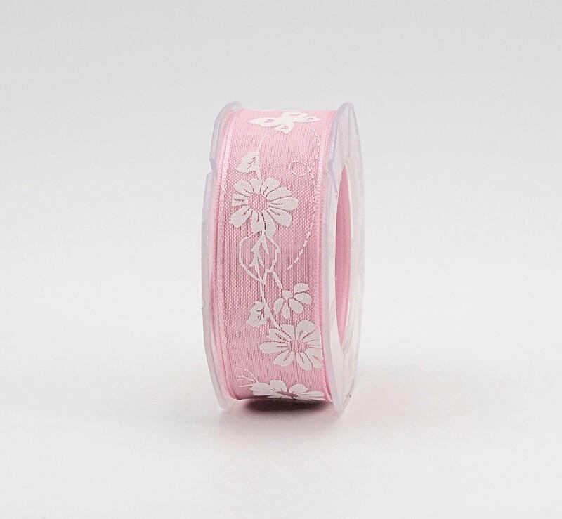 Furlanis nastro velo cotone serigrafato rosa colore 20 mm.25 Mt. 10
