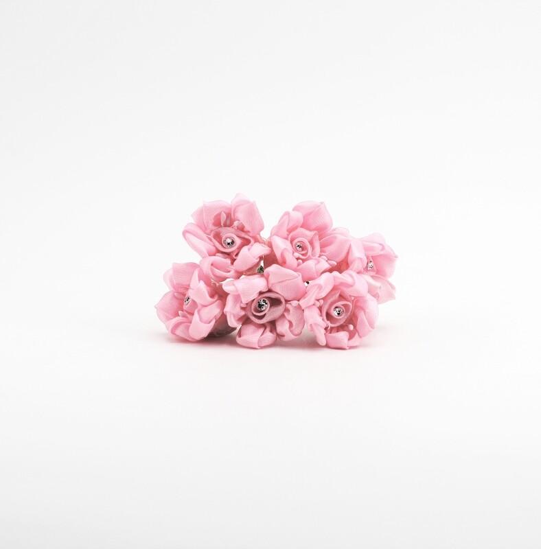 Applicazione fiore d'organza rosa con strass Pz. 72