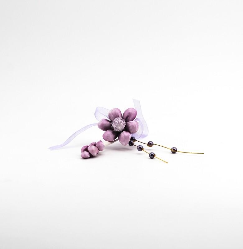 Applicazione pick fiore viola con spiga e perle Pz. 10