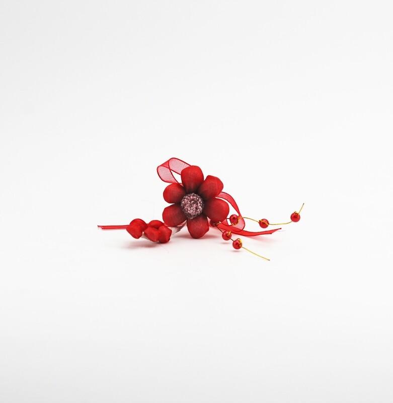 Applicazione pick fiore rosso con spiga e perle Pz. 10