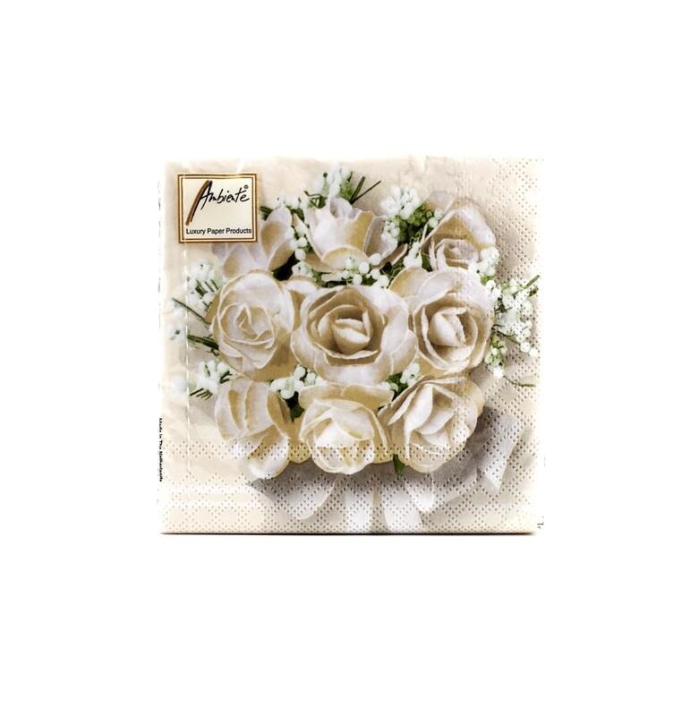Tovaglioli per eventi white roses Pz.20