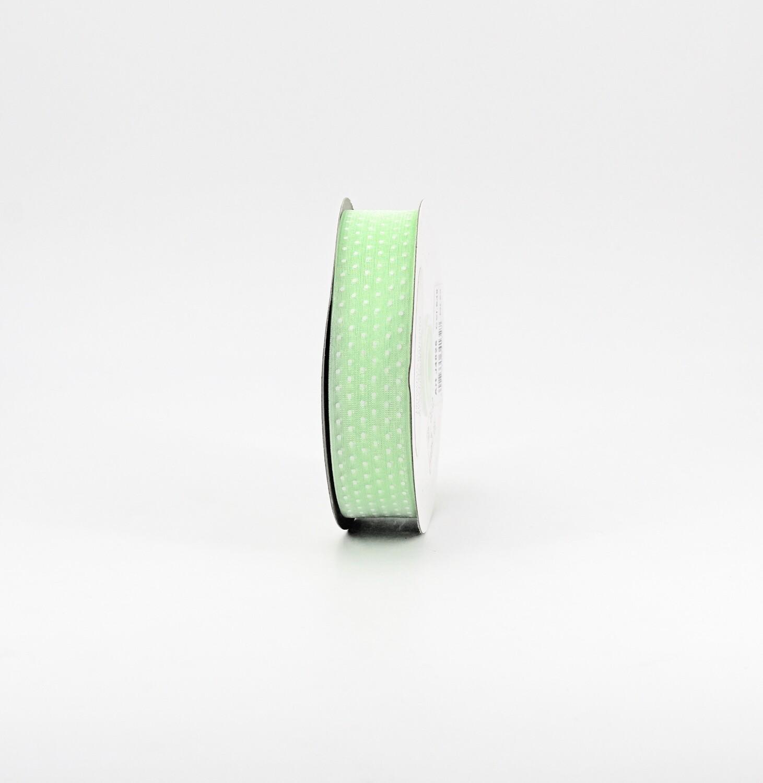 Nastro verde chiaro organza a pois mm.25 Mt. 50