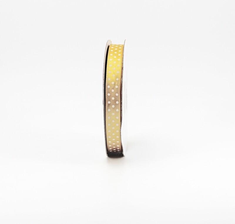 Nastro raso oro a pois mm.15 Mt.50
