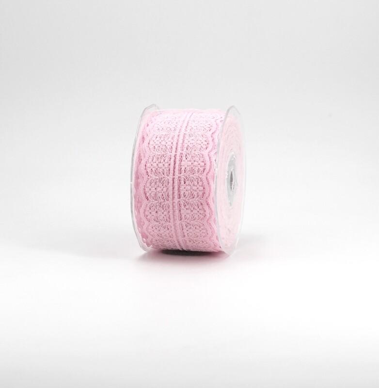 Nastro pizzo nylon rosa colore 20 mm. 42 Mt. 25