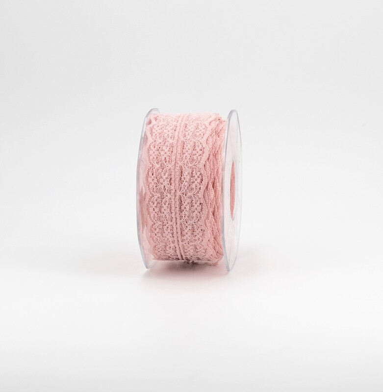 Nastro pizzo nylon rosa colore 52 mm. 42 Mt. 25