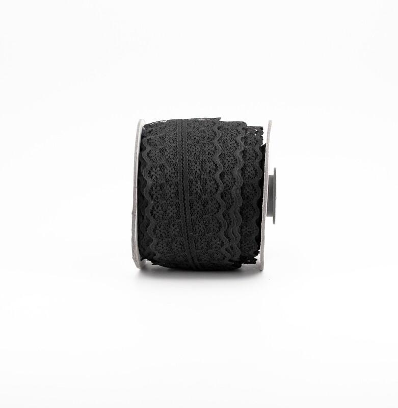 Nastro pizzo nylon nero colore 33 mm. 42 Mt. 25