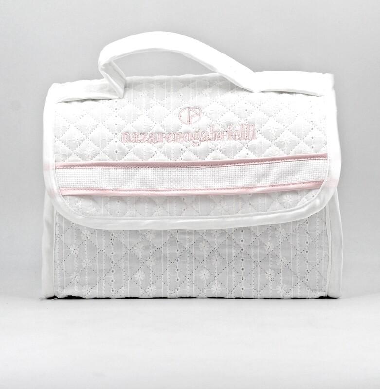 Borsa portaoggetti  bianca e rosa trapuntata  Pz. 1