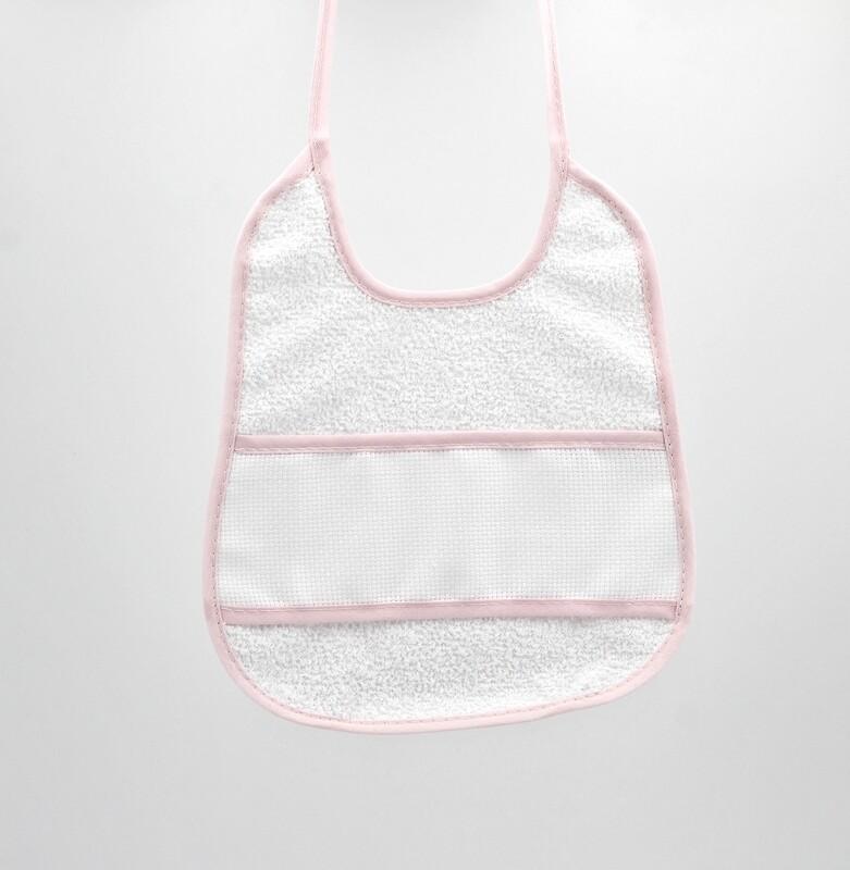 Bavaglino bianco in tela aida e spugna con bordi rosa Pz. 1