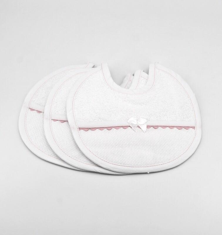 Bavaglino bianco con rifiniture rosa Pz. 3
