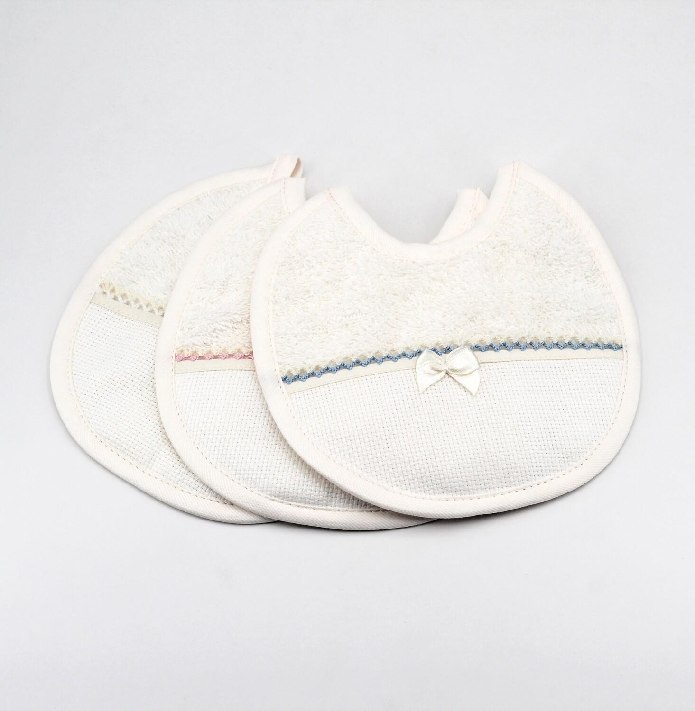 Bavaglino avorio in tela aida e spugna  Pz. 3