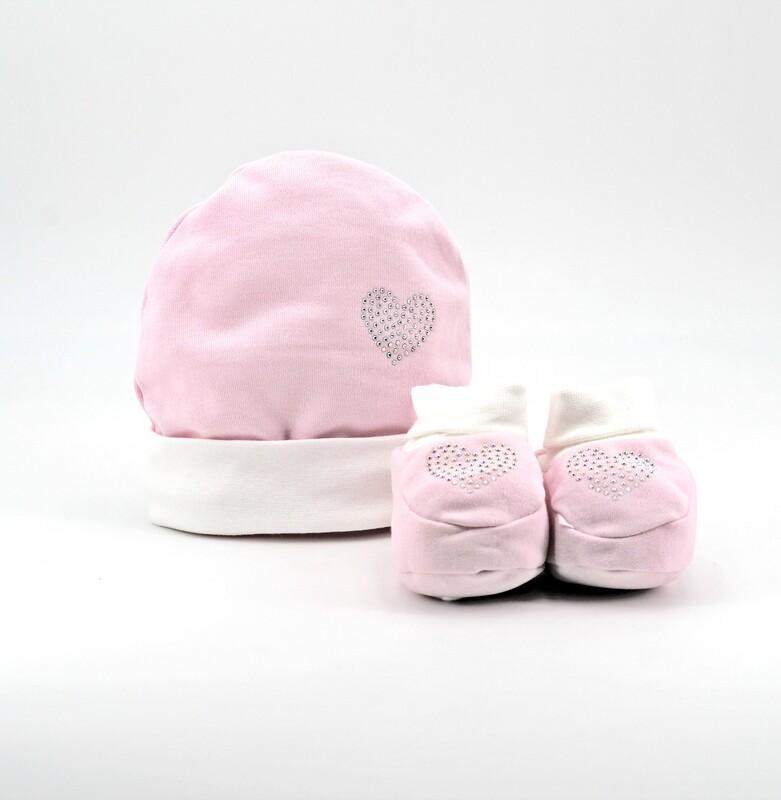 Completo in cotone cappellino e scarpine rosa con strass Pz. 1