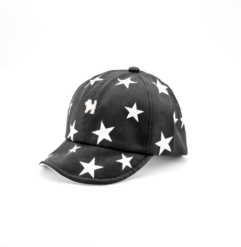 Cappellino in puro cotone nero con stelline bianche Pz. 1