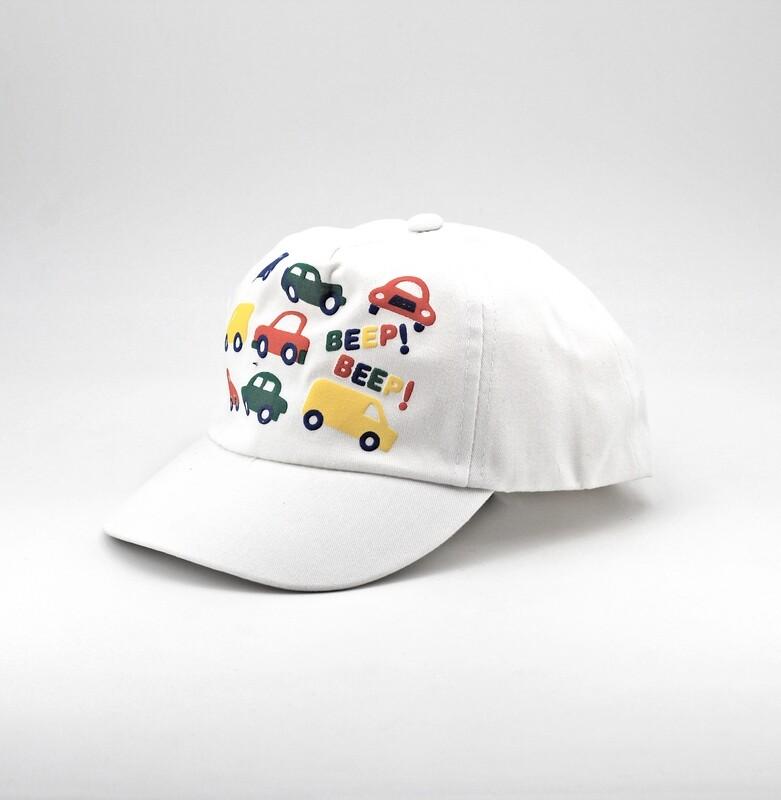 Cappellino in puro cotone bianco fantasie macchinine Pz. 1