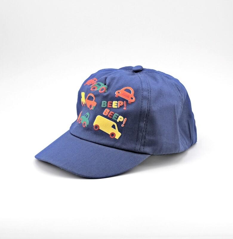 Cappellino in puro cotone blu fantasie macchinine Pz. 1