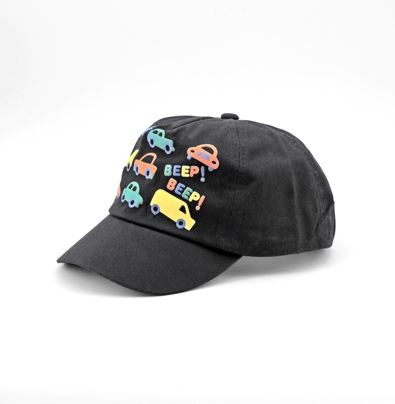 Cappellino in puro cotone nero fantasie macchinine Pz. 1