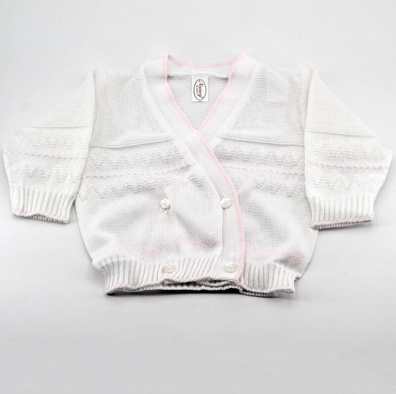 Scaldacuore neonato in puro cotone bianco con bordi rosa Pz. 1