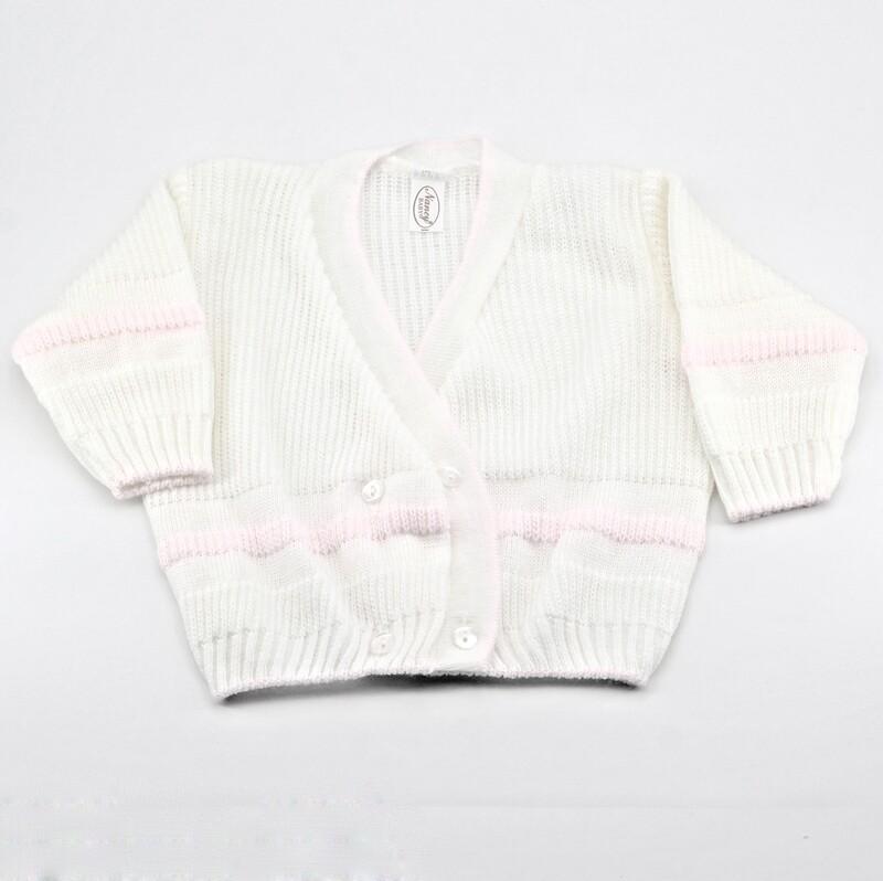 Scaldacuore neonato misto lana bianca con bordi rosa Pz. 1