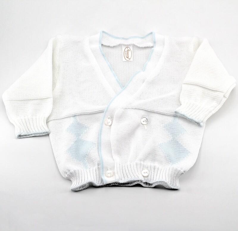 Scaldacuore neonato puro cotone bianco con rombi Pz. 1