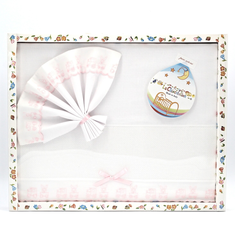 Coordinato culla in puro cotone bianco e rosa Pz.1