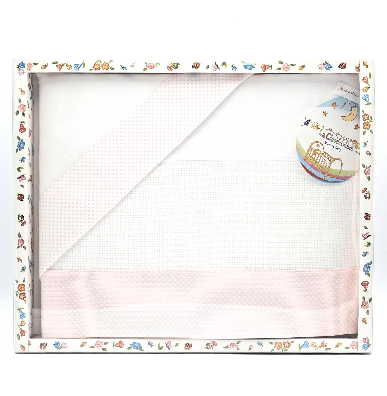 Coordinato lettino bianco e rosa Pz.1