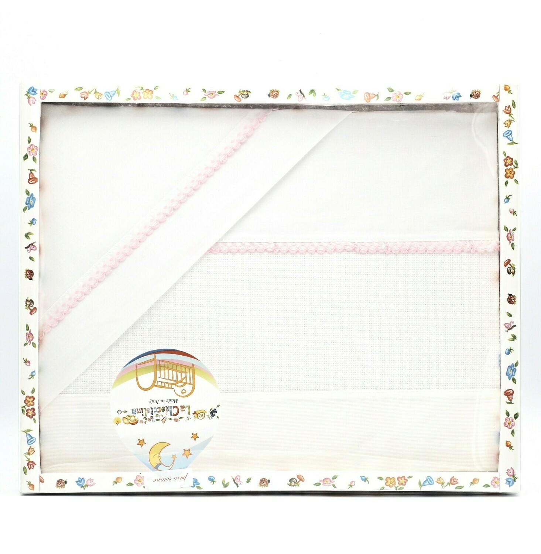 Coordinato lettino bianco con bordatura rosa Pz.1