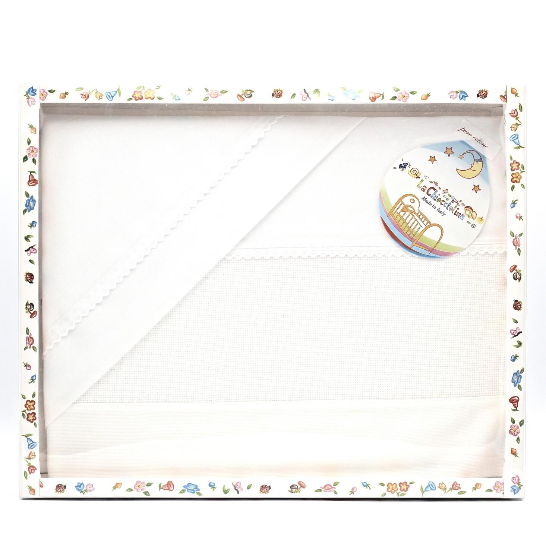 Coordinato lettino bianco con bordatura biancaPz.1