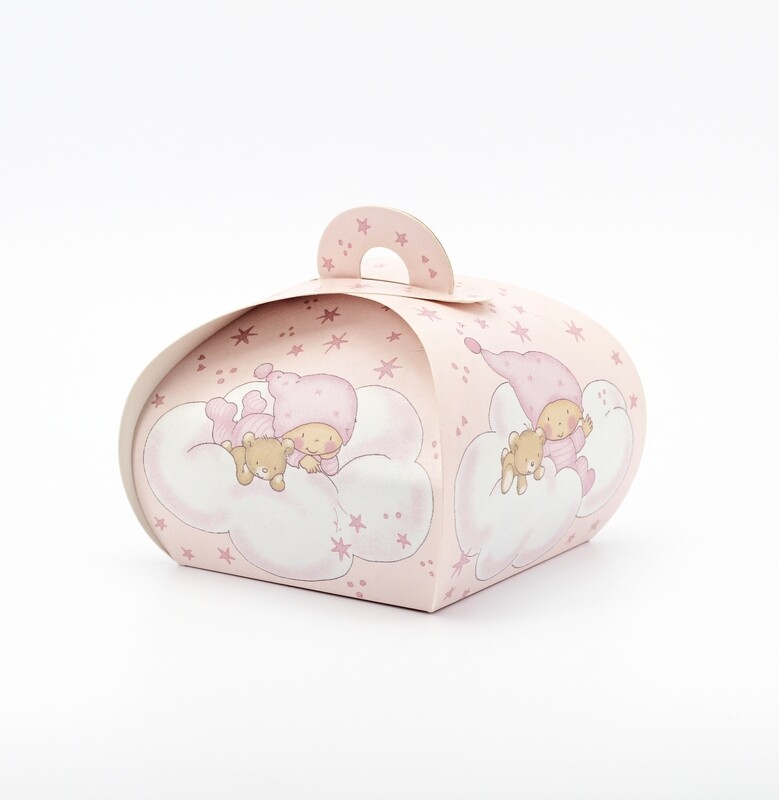 Scatolo tortina rosa neonato con orsetto Pz. 12