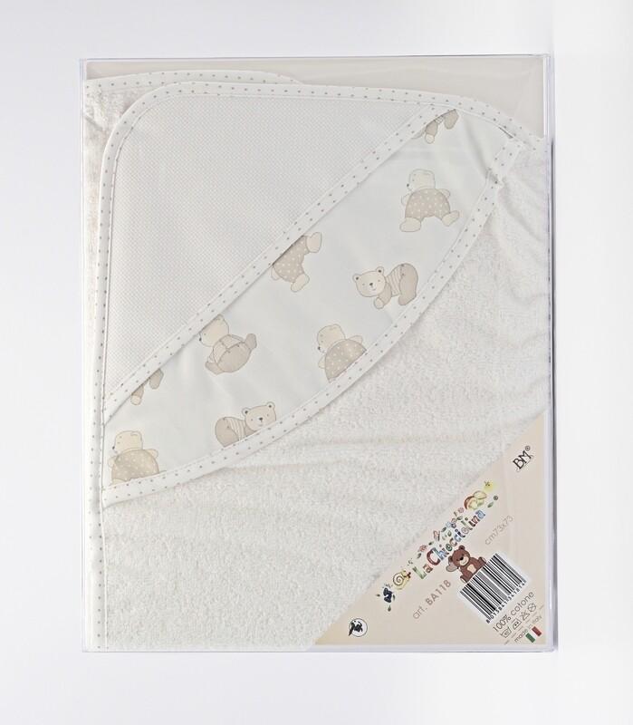 Accappatoio neonato in spugna bianca fantasia orsetti Pz.1