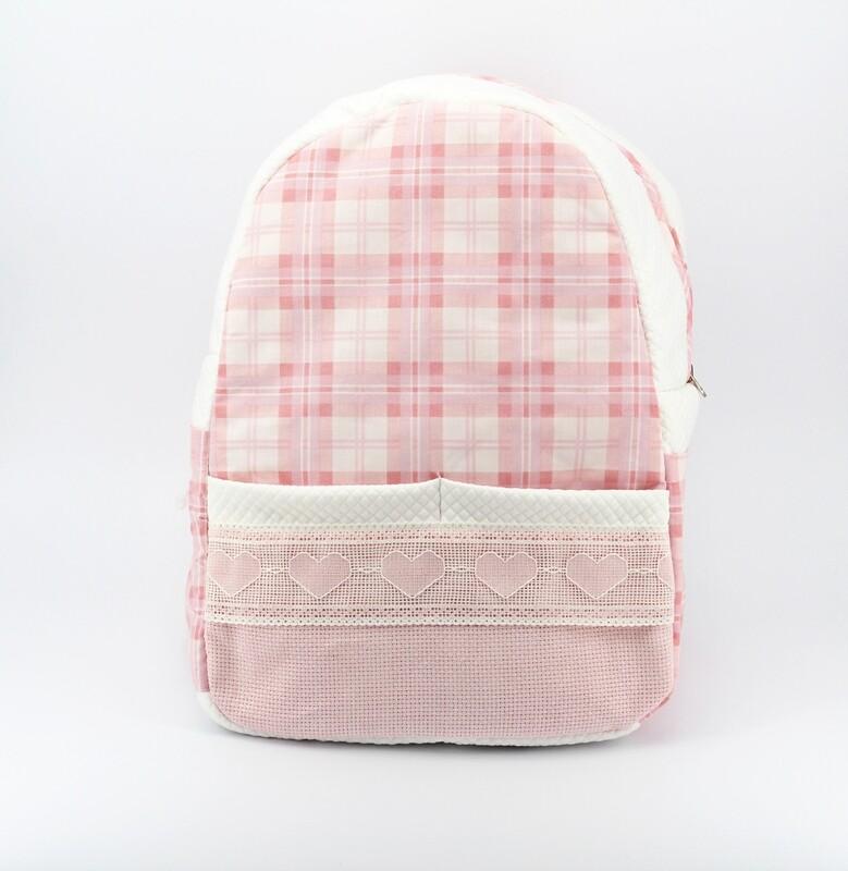 Zainetto baby rosa fantasia scozzese Pz.1