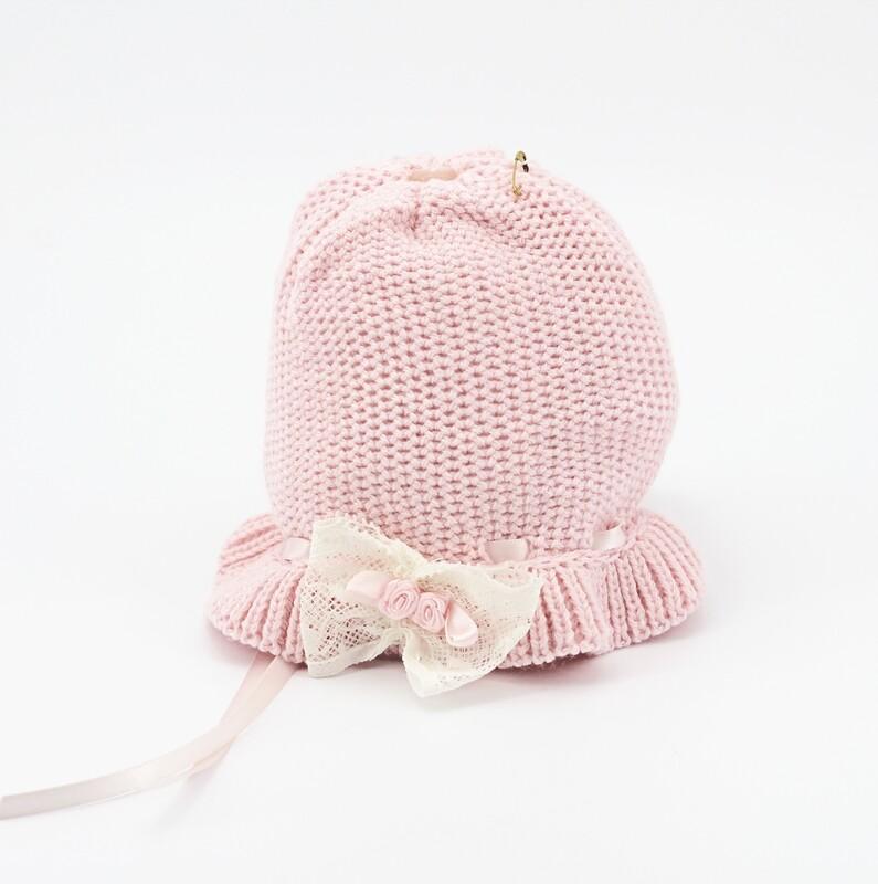 Cappellino in lana merinos rosa con fiocchetto bianco Pz.1