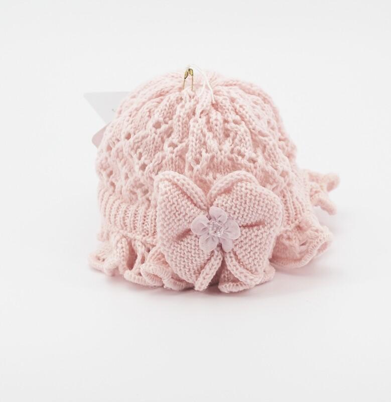 Cappellino in lana merinos rosa con fiocco Pz.1