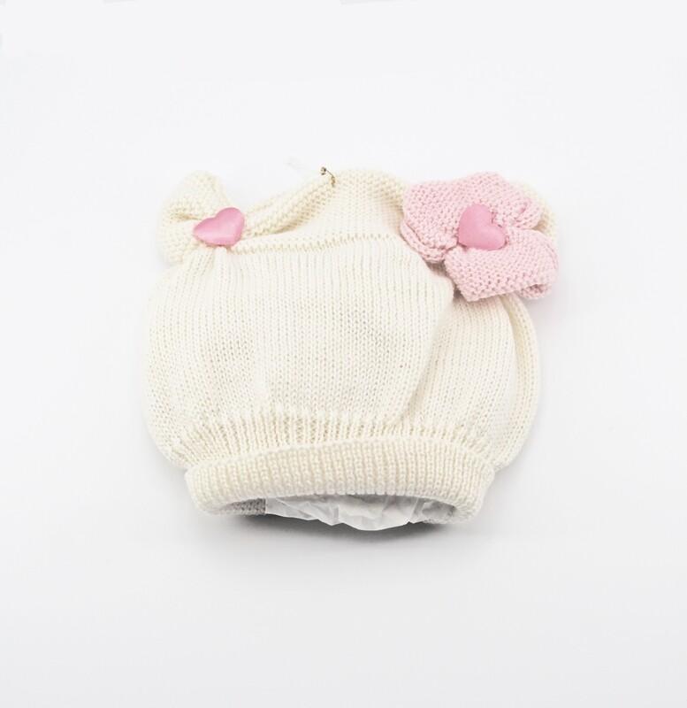 Cappellino in lana merinos bianco con cuori rosa Pz.1