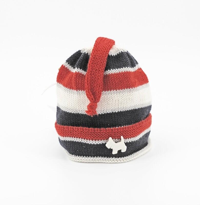 Cappellino in lana merinos a righe bianche rosse e blu Pz.1