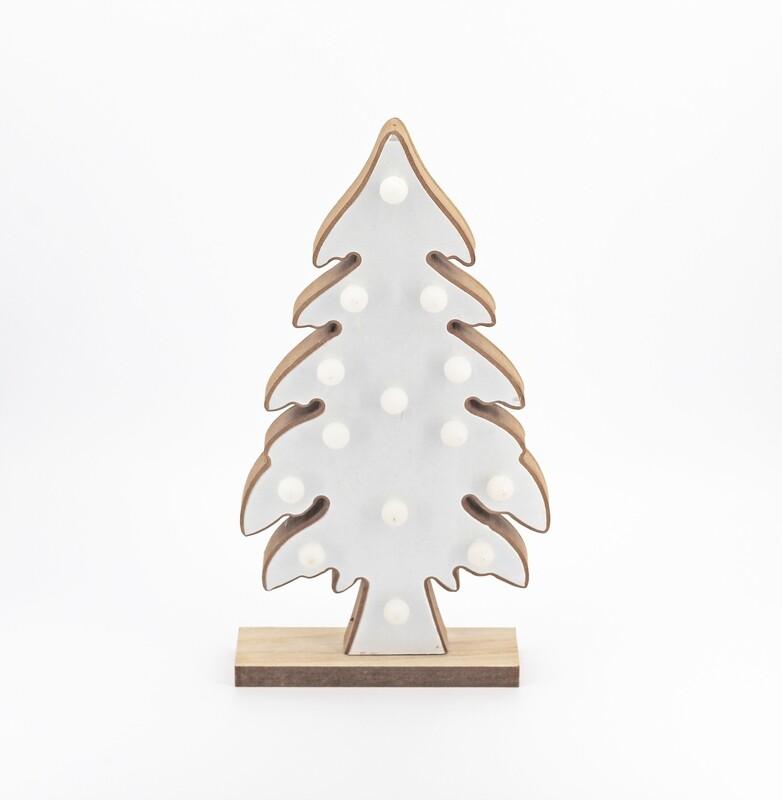 Bomboniera in legno albero di natale con luci Pz. 1