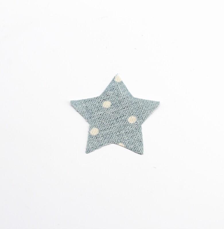 Applicazione stella in cotone celeste a pois bianchi Pz.1