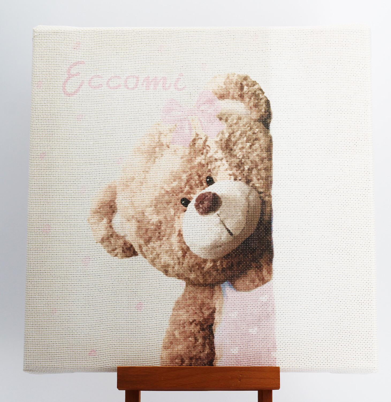 """Quadro da ricamare orso """"Eccomi"""" rosa"""