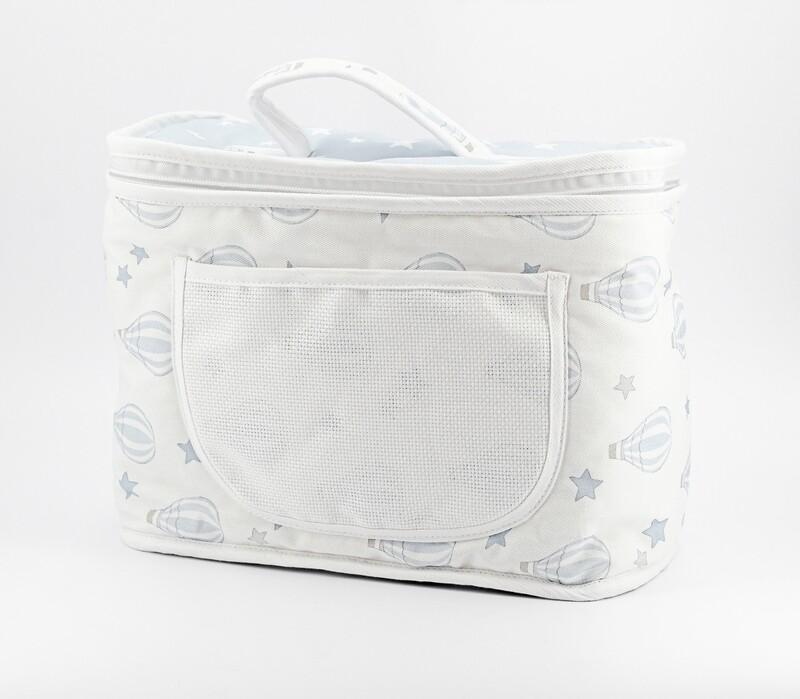 Beauty neonato bianco e celeste fantasia mongolfiere Pz. 1