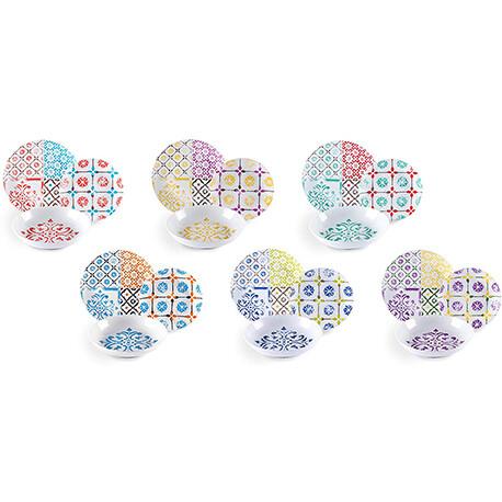 Servizio piatti da tavola 18 pezzi maioliche multicolore