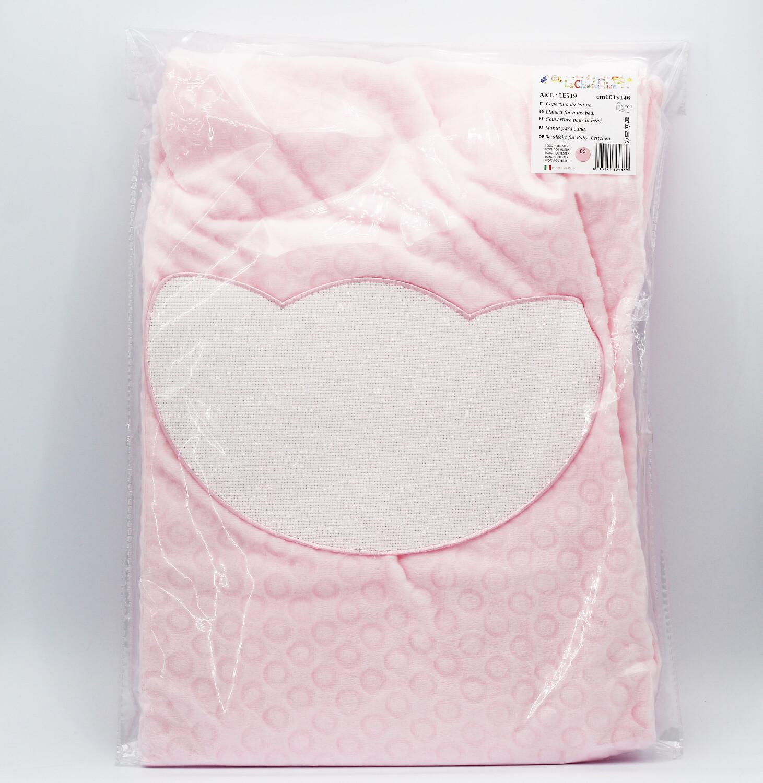 Copertina da lettino in pile orsetto rosa Pz. 1