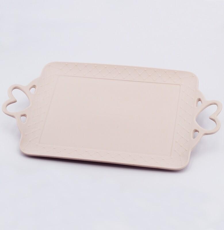 Vassoio rettangolare rosa piccolo con astuccio rigido