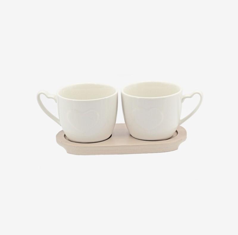 Bomboniera set due tazze da tè con vassoio Pz. 1
