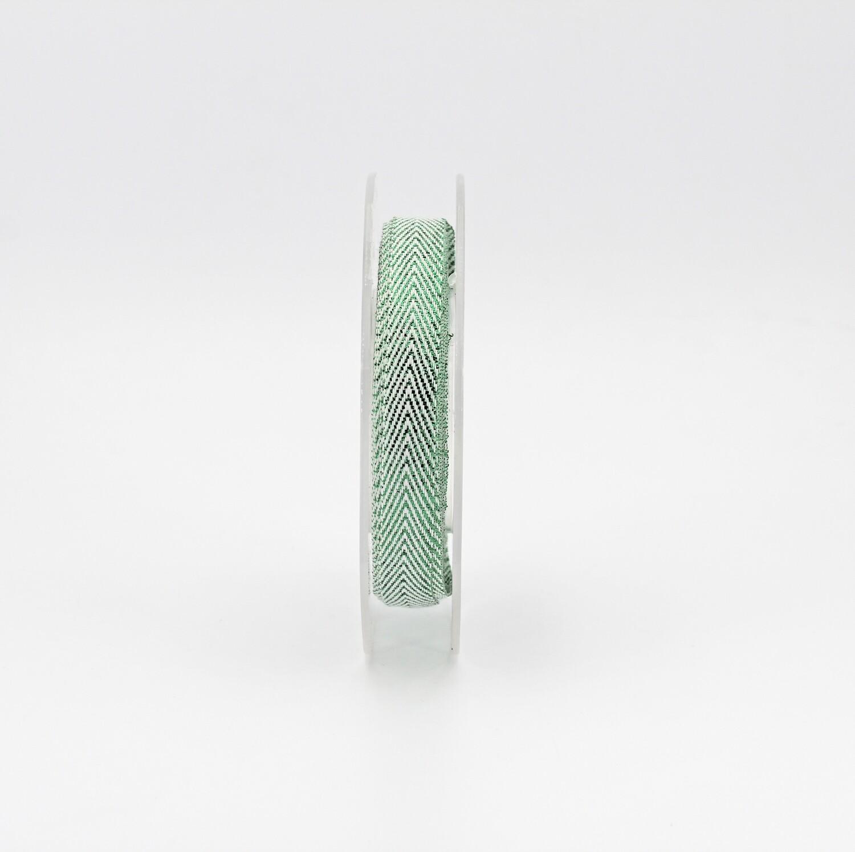 Furlanis nastro herringbone con lurex verde mm.10 Mt.15