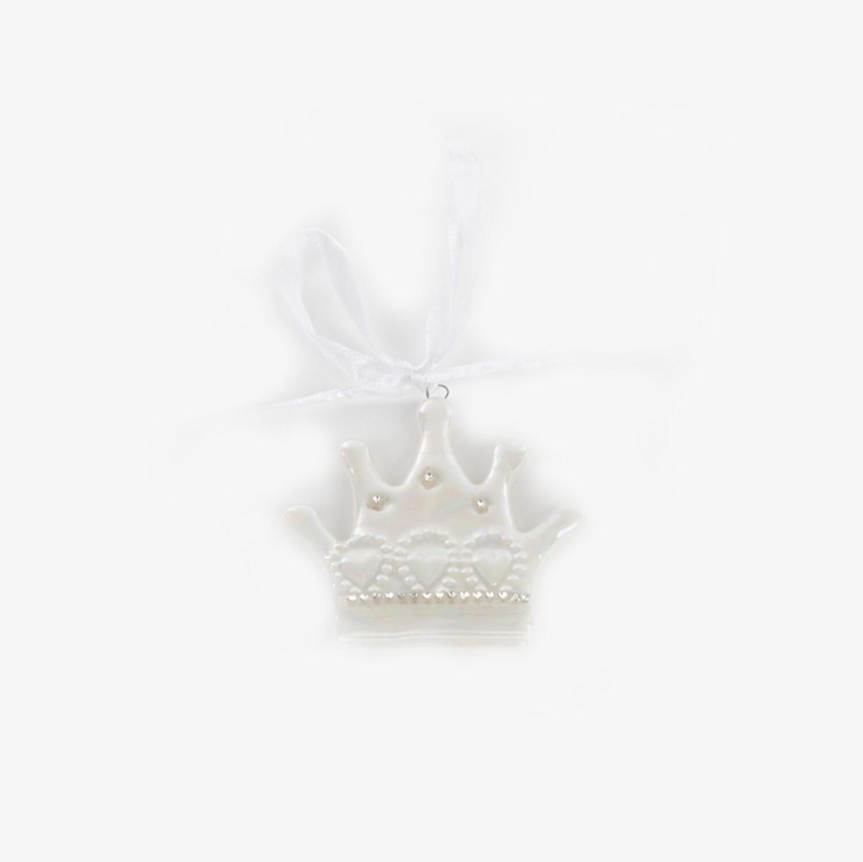 Bomboniera corona bianca con calamita Pz. 12